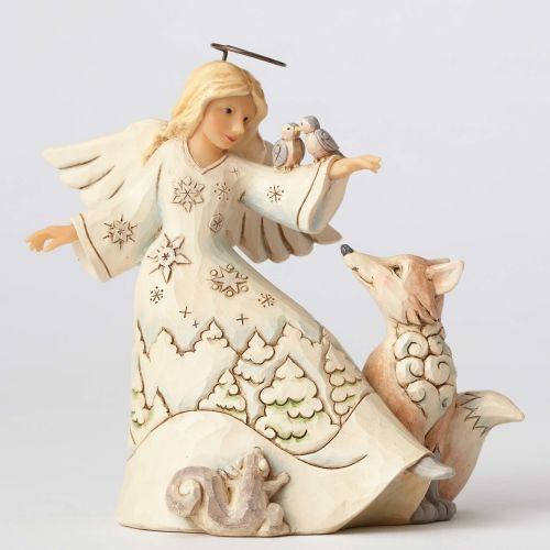 Jim Shore Blessed Be All Creatures White Woodland Angel with Birds